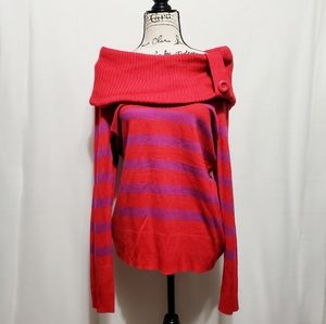 Striped Cowl Turtle Neck Sweater*NWT*Red/Purple*C